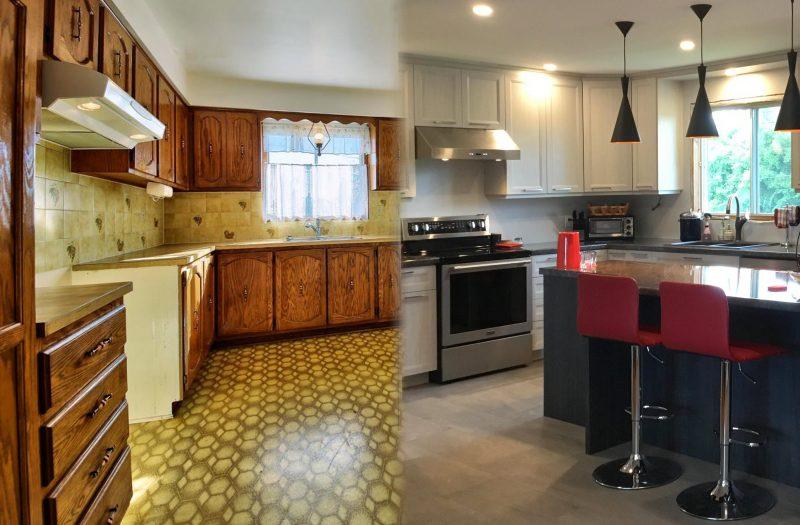 avant apr s r novation de cuisine de m t armoires super prix 514 522 5562 5500 rue. Black Bedroom Furniture Sets. Home Design Ideas